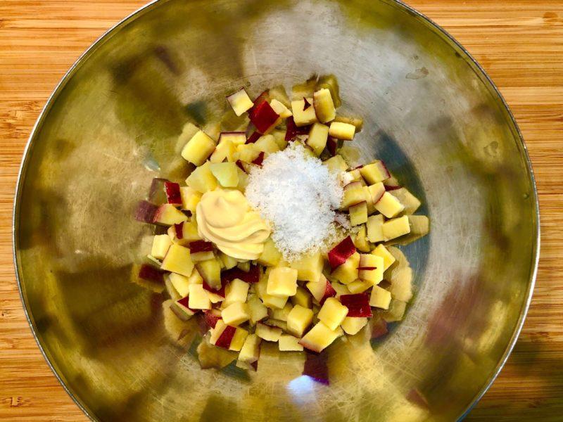 優しい甘み♪さつまいものスイートサラダの作り方その3-調味料で和えて完成!の写真